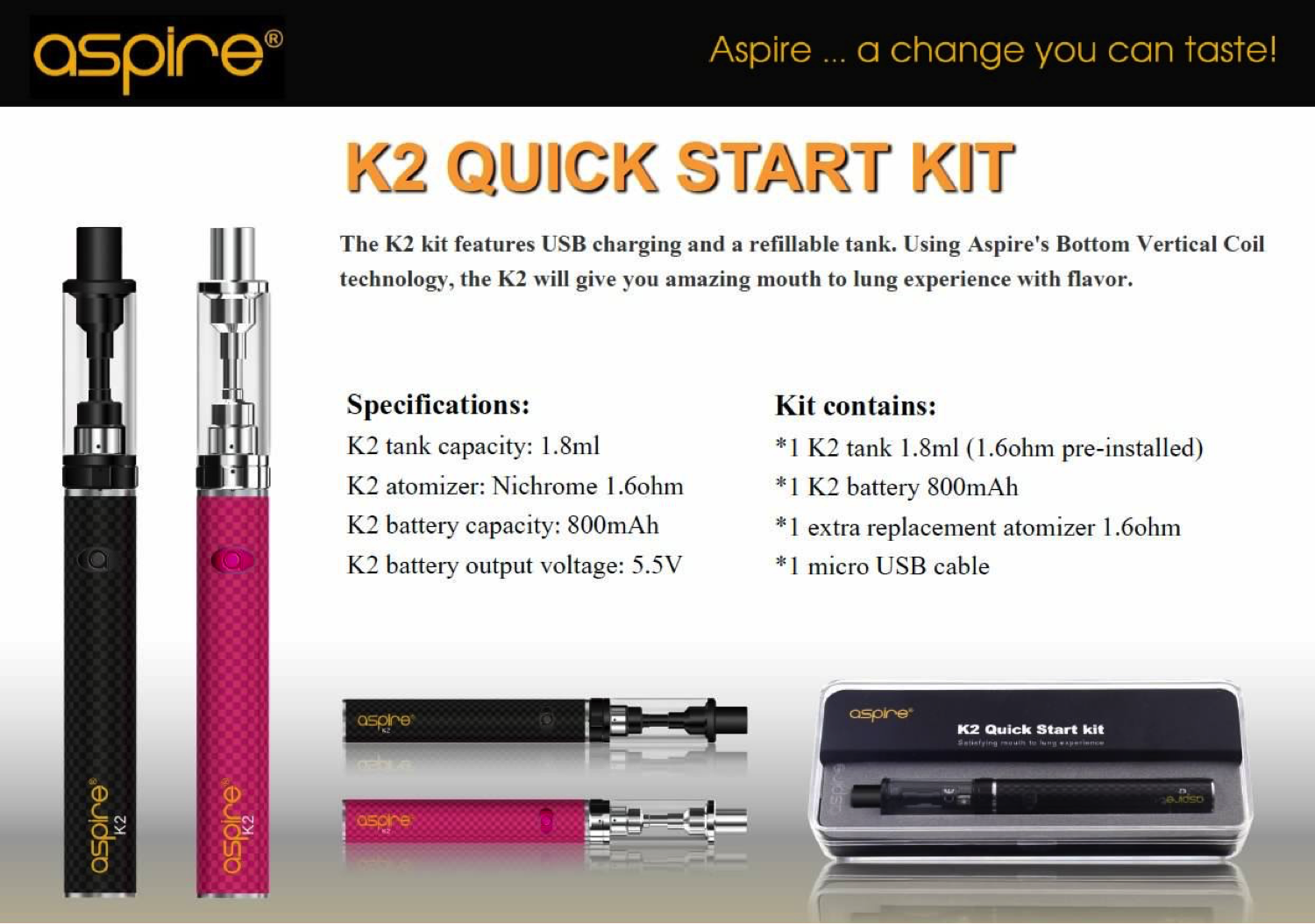 Aspire K2 Kit complete